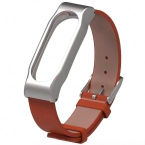 Ремешок Xiaomi Mi Band 2 (Кожазам/коричневый/метал)