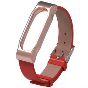 Ремешок Xiaomi Mi Band 2 (Кожазам/красный/метал)